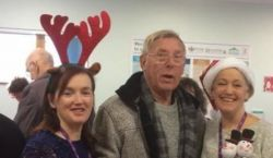 Bedser Hub patient and CSH staff smiling and enjoy festive fun